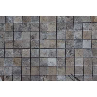 Silver travertin Mozaiek 1x4,8x4,8